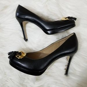 Talbots Black Gold Tassel Detail High Heels